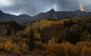 Picture autumn, forest, mountains, rainbow