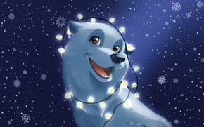 Picture Winter, Dog, Snow, Christmas, Snowflakes, Background, New year, Holiday, Art, Happy New Year, Christmas, Art, …