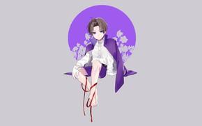 Picture flowers, background, round, boy, Touken Ranbu, Dance Of Swords, Heshikiri Hasebe