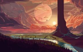 Picture fantasy, forest, river, trees, sunset, clouds, planet, artist, digital art, artwork, fantasy art, creature, fantasy …
