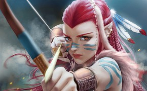 Picture girl, bow, Archer, fantasy, art, hunting, shooter, fragment, NATIVE, Yanai Draws