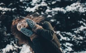 Picture winter, smile, hair, Girl, mittens, Olga Liferova, Alexander The Turbine