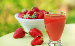 Picture glass, table, strawberry, berry, juice, Cup, red, bokeh