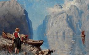 Wallpaper Norwegian artist, Hans Andreas Dahl, Norwegian painter, Norwegian fjord landscape, The Norwegian fjord landscape, Hans ...