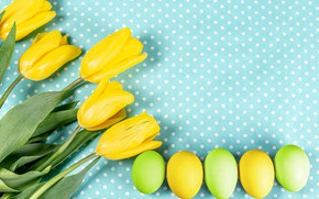 Picture flowers, background, eggs, Easter, tulips, eggs, yellow tulips