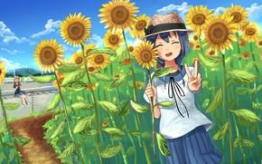 Picture summer, sunflowers, girls, watermelon, Yuru Yuri, Sakurako Oomuro, Himawari Furutani