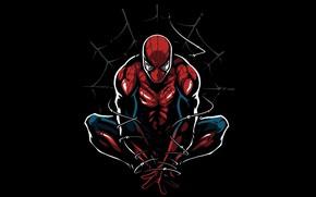 Wallpaper figure, web, art, costume, black background, comic, Spider-man, MARVEL, Spider-Man, shackles