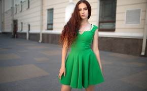 Picture look, pose, street, model, the building, portrait, makeup, dress, hairstyle, brown hair, is, the sidewalk, …