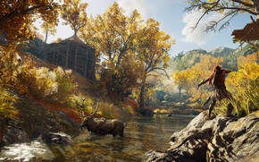 Wallpaper forest, trees, swamp, moose, assassin, Assassin's Creed Odyssey