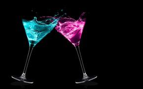 Picture drops, squirt, splash, glasses, pair, black background, cocktails