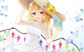 Picture hat, girl, Touhou, Touhou