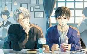 Picture anime, art, Yuri on Ice, Yuri on the ice, Viktor Nikiforov, Yuri Katsuki