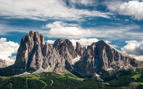 Picture the sky, clouds, trees, mountains, rocks, field, panorama, forest, Dolomites, Langkofel Group