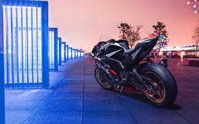 Picture city, lights, Kawasaki, night, ninja, kawasaki ninja zx10r
