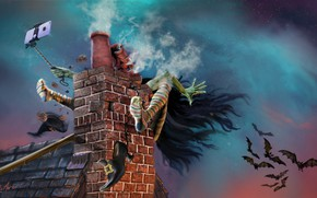 Picture crash, pipe, Halloween, bats, on the roof, witch, selfie, striped stockings, witch hat, witch on …
