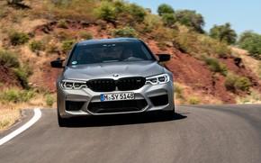 Picture asphalt, grey, movement, BMW, sedan, front view, 4x4, 2018, four-door, M5, V8, F90, M5 Competition