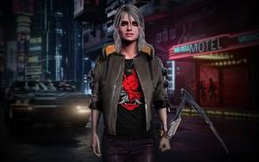 Picture Girl, Car, Art, Photoshop, Witcher, Sword, Cyberpunk 2077, Cyberpunk, Ciri, Zireael