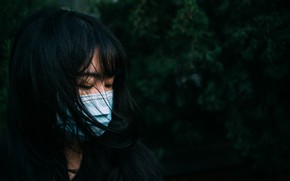 Picture girl, face, background, hair, mask