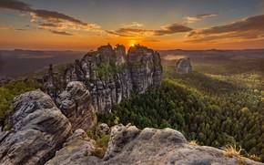 Wallpaper mountains, Germany, Saxon Switzerland