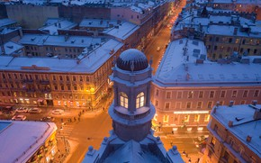 Picture winter, the city, building, home, the evening, Peter, lighting, Saint Petersburg, crossroads, street, Yuri Stolypin, …