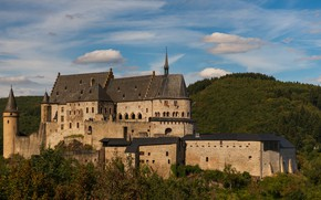 Picture autumn, forest, clouds, landscape, castle, view, hill, tower, architecture, Luxembourg, medieval, vintage, blue sky
