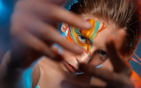 Picture look, color, girl, face, background, paint, makeup