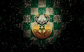Picture wallpaper, sport, logo, basketball, NBA, Milwaukee Bucks, glitter, checkered