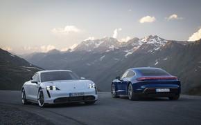 Picture machine, mountains, Porsche, turbo, turbo s, Taycan
