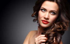 Picture look, girl, face, makeup, brunette, hairstyle, curls, OPOLJA