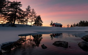 Picture winter, the sky, snow, trees, sunset, lake, house, reflection, stones, shore, the evening, ate, Norway, …