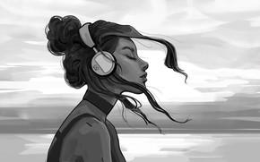 Picture Girl, B/W, Figure, Headphones, Girl, Hair, Black and white, Art, Art, Headphones, Hair, Artist, Black …