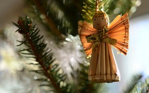 Picture winter, branches, holiday, angel, Christmas, New year, needles, figure, bokeh, Christmas decorations, Christmas decorations, Christmas …