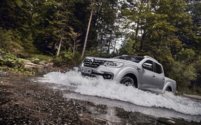 Picture water, squirt, wave, Renault, pickup, 4x4, 2017, Alaskan, gray-silver