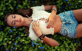 Picture grass, leaves, decoration, flowers, sexy, pose, model, shorts, makeup, figure, hairstyle, lies, blouse, brown hair, …