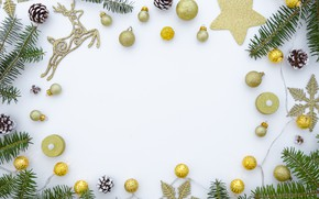Picture decoration, balls, New Year, Christmas, golden, Christmas, balls, New Year, decoration, Merry, fir tree, fir-tree ...