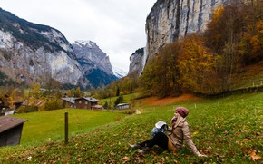 Picture autumn, leaves, girl, trees, landscape, mountains, nature, rocks, hat, home, Switzerland, valley, Alps, jacket, blonde, ...