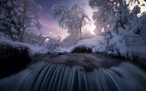 Picture winter, snow, trees, landscape, sunset, nature, river, waterfall, Norway, cascade, the threshold, Arild Heitmann