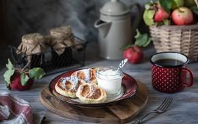 Picture tea, Breakfast, Cup, pancakes, sour cream, fragrant