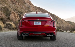 Picture red, Cadillac, sedan, rear view, four-door, 2020, CT5-V
