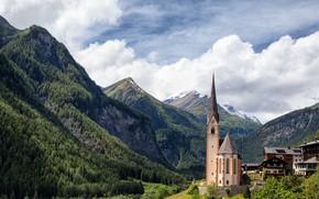 Picture the sky, clouds, mountains, Austria, Church, Carinthia, Heiligenblut