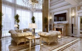 Wallpaper house, furniture, Villa, interior, luxury, living room