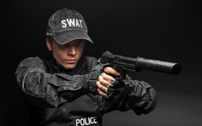 Picture pose, jacket, in black, POLICE, form, SWAT, male, police, cap, black background, muffler, gloves, gun