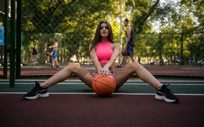 Picture girl, pose, mesh, feet, the ball, top, sneakers, Playground, Alina Naumenko, Владимир Томаров, рабица1