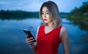 Picture summer, look, girl, nature, river, the evening, phone, beauty