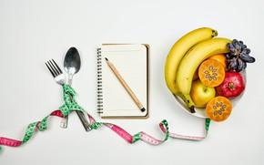 Picture background, apples, plate, grapes, spoon, bananas, Notepad, pencil, fruit, plug, garnet, persimmon, diet, centimeter