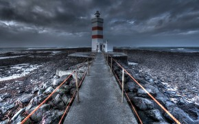 Picture sea, shore, lighthouse