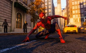 Picture road, people, street, taxi, Spider-Man, PS4, Spider - man, Spider-Man (PS4)