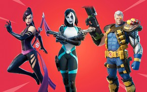 Picture weapons, girls, man, fantasy, trio, red background, characters, Fortnite