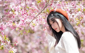 Picture girl, spring, Asian