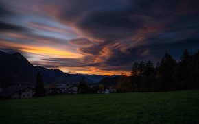 Picture autumn, forest, grass, clouds, trees, sunset, mountains, night, clouds, green, hills, glade, tops, home, the …